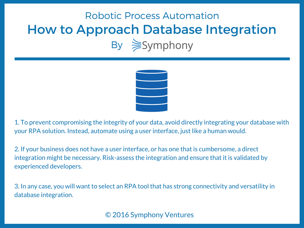 Infographic on Database Integration for RPA